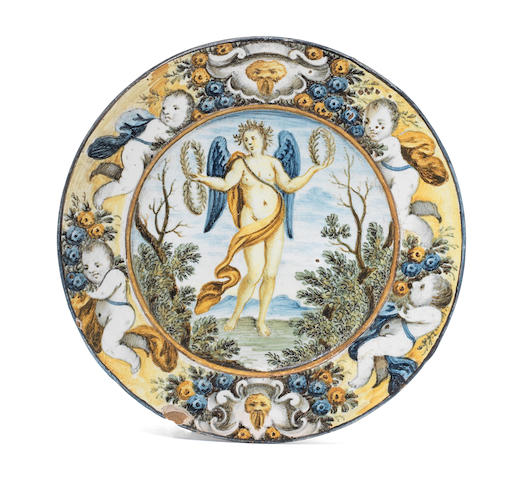 A Castelli maiolica plate, second half 18th century