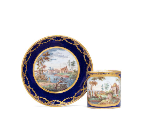 A Sevres blue-ground cup and saucer