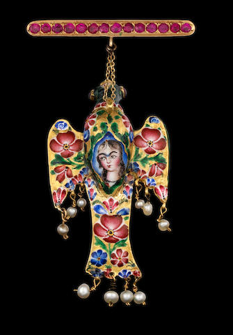 A Qajar gem-set enamelled gold Pendant in the form of an Eagle Persia, 19th Century