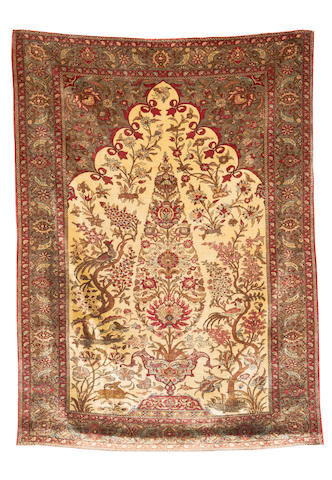 A Ghom silk rug, Central Persia, circa 1940, 6 ft 10 in x 5 ft (209 x 153 cm) very good condition