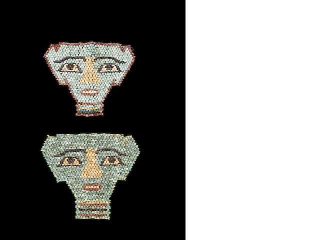 Two Egyptian glazed composition Hathor mummy bead masks 2