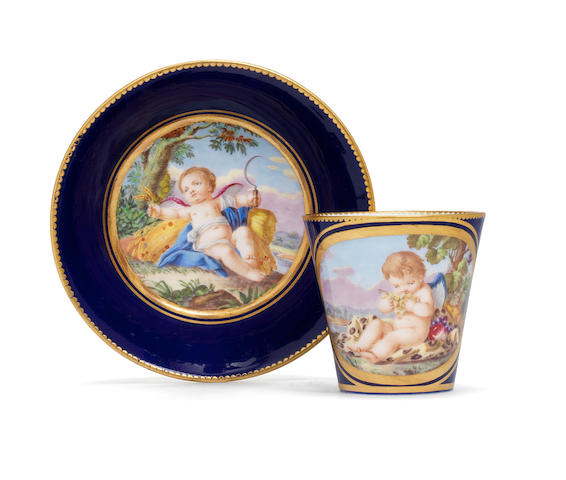 A Sèvres coffee cup and saucer, circa 1772