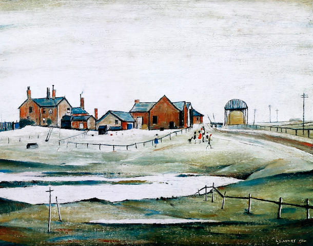 Laurence Stephen Lowry R.A. (British, 1887-1976) 'Landscape with Farm Buildings'