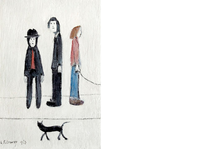 Laurence Stephen Lowry R.A. (British, 1887-1976) 'Three Men and a Cat'
