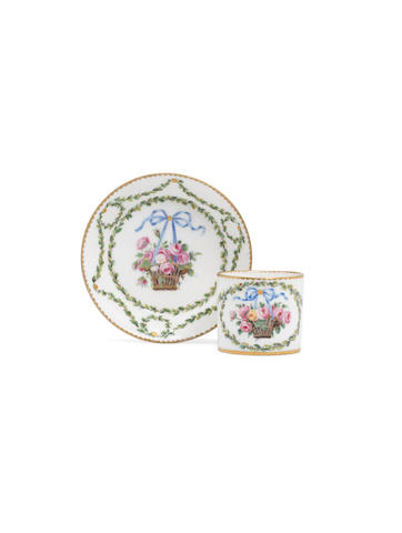 A miniature Sèvres cup and saucer, circa 1771