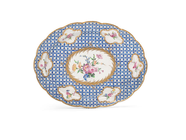 Chantilly oval dish, flower panels on blue and gold ground
