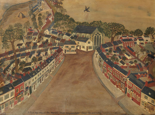 English Naive School, 19th century A Bird's Eye view of the Market Street Wymondham and its vicinity