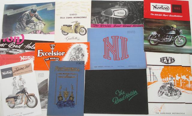 Assorted pre and post-War motorcycle sales literatures,