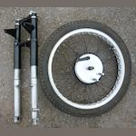 A scarce set of 1948 AMC teleforks and front wheel,