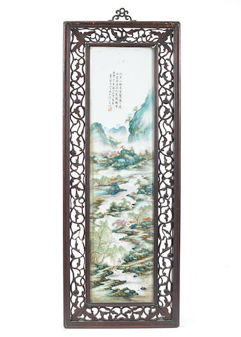 A pair of famille rose rectangular 'landscape' panels Dated 21st Year of the Republic (AD1932), signature of Wang Yeting