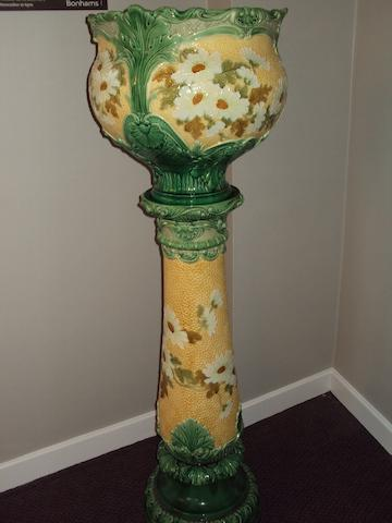 A large Burmantofts Faience jardiniere and stand