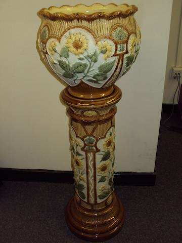 A Burmantofts Faience jardiniere and stand