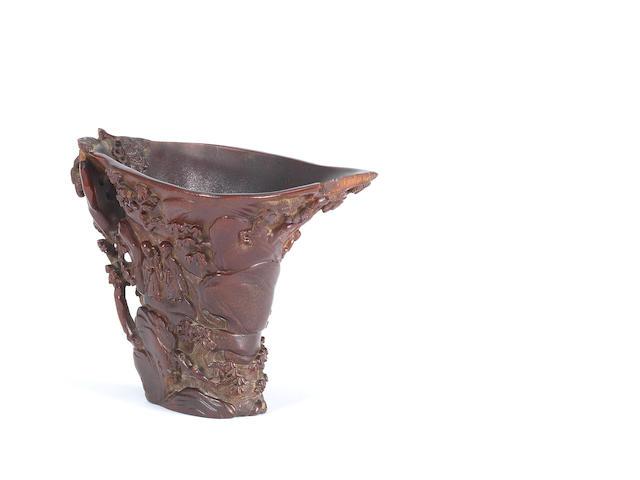 A rare rhinoceros horn libation cup, 17th/18th century
