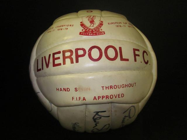 1980/81 football hand signed by 11 Liverpool, including 6 European Cup winners