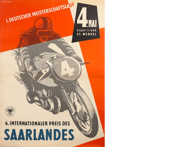 A 1958 ADAC 'Internationaler Preis des Saarlandes' motorcycle race poster,