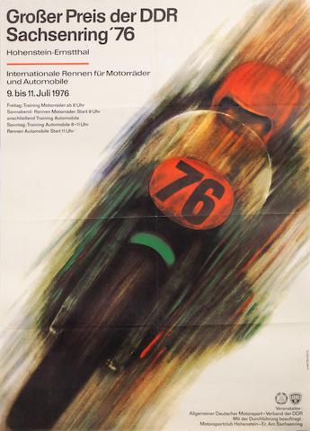 A 1976 ADMV 'Grosser Preis der DDR Sachsenring' motorcycle race poster,