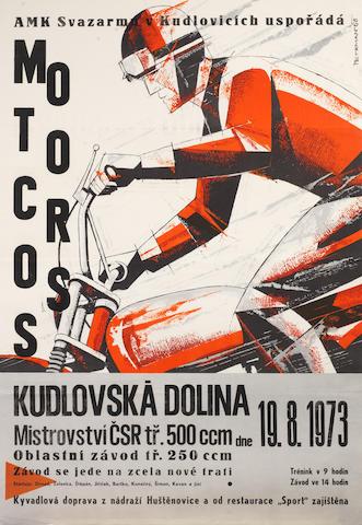 A 1973 Czechoslovakian Motocross Championship race poster,
