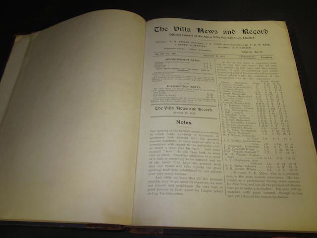 1923/4 Aston Villa bound programmes