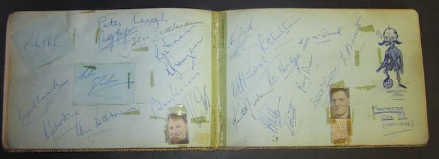 Autograph book containing 1957/58 Manchester City signatures