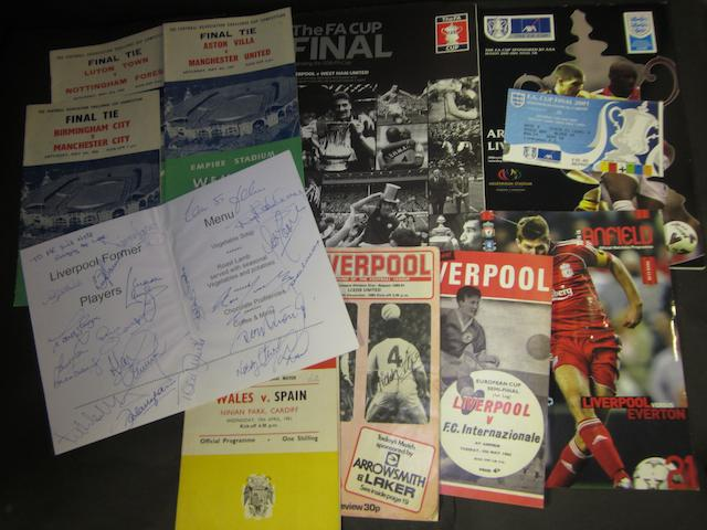 Liverpool hand signed menu and football programmes including F.A. Cup finals