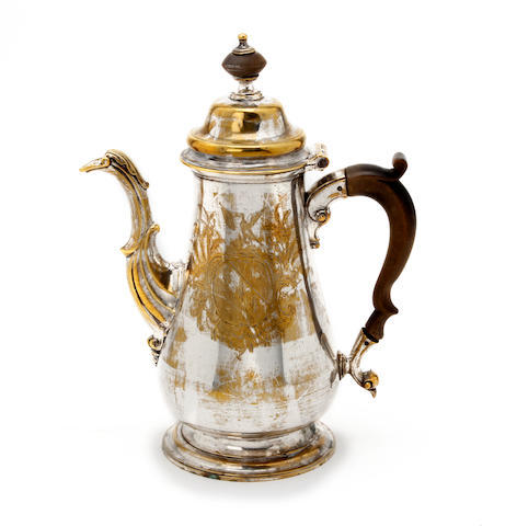 A George II silver-plated brass coffee pot