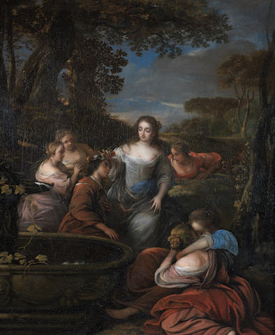 Attributed to Carel de Moor (Leiden 1656-1738 Warmond) Amarillis Crowning Mirtillo
