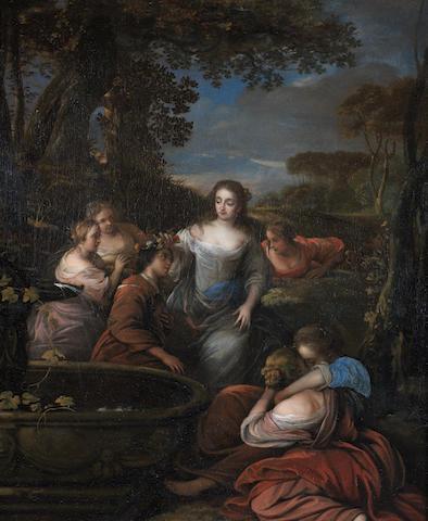 Attributed to Carel de Moor (Leiden 1656-1738 Warmond) Amarillis Crowning Mirtillo