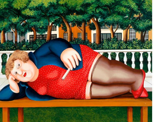 Beryl Cook (British, 1926-2008) 'Bryant Park'