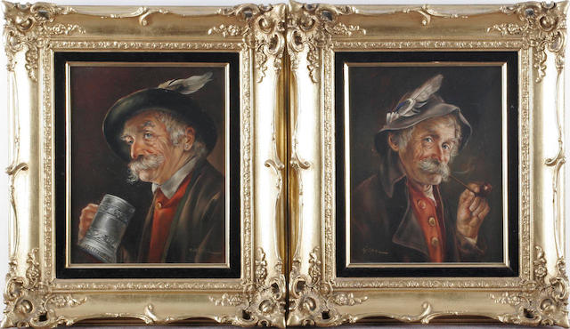 *** Gartner, 20th Century Portraits of an old pipe smoker; and companion portrait of an old man with Stein