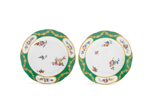 A pair of Sèvres plates, date 1771