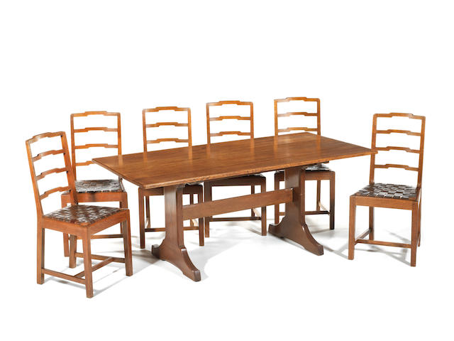 Harry Norris  A Good Oak Dining Table and Six Chairs, circa 1930