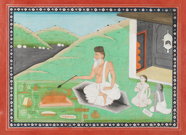 An illustration to a manuscript of the Mahimna stora, a poem in praise of Siva's greatness by Puspadanta Acharya, depicting a holy man performing rites outside a temple in a landscape Kangra at Lahore, dated samvat 1912/AD 1855