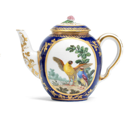 A Sèvres blue-ground teapot and cover, circa 1772