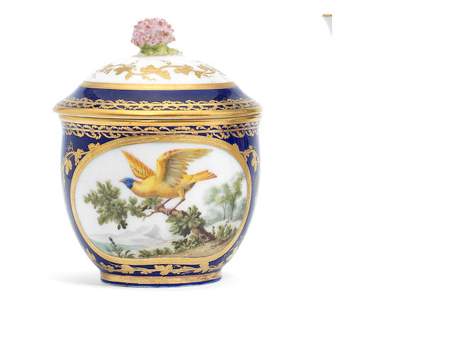A Sèvres blue-ground sugar bowl and cover, circa 1772
