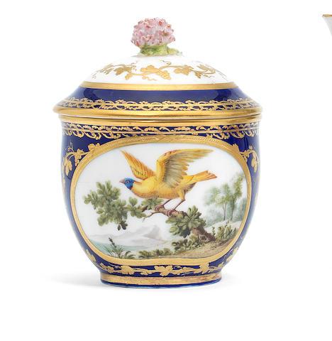 A Sèvres blue-ground sugar bowl and cover, circa 1772