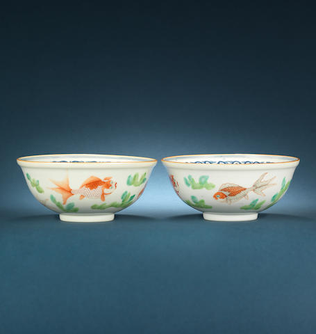 A pair of enamelled fish bowls, Daoguang mark and of the period