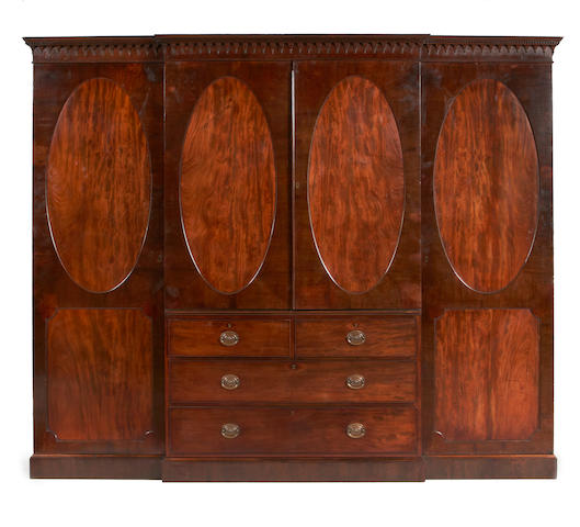 A George III mahogany breakfront compactum