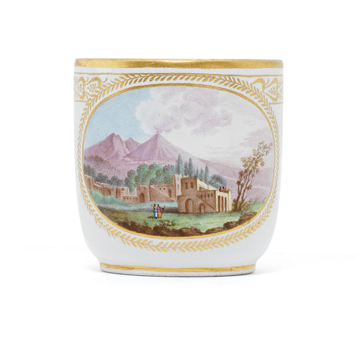 A Naples, Real Fabbrica Ferdinandea cup with view of the Vesuvius (handle restored, two chips to rim)