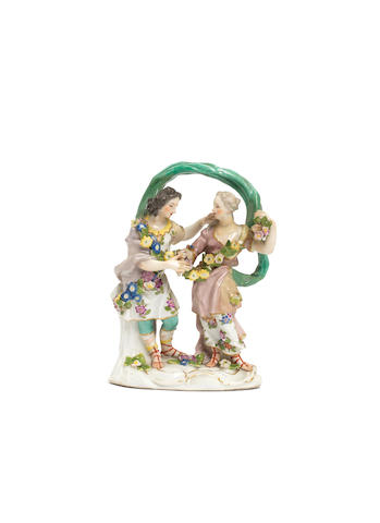 A Meissen group of dancing girls, circa 1760 (minor restoration)