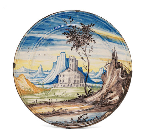 A Lombardy maiolica dish, second half 18th century