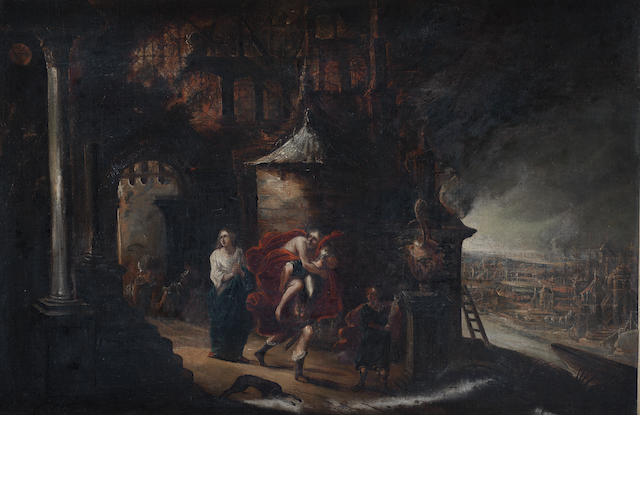 Flemish School, 18th Century Aeneas Bearing Anchises from the burning Troy