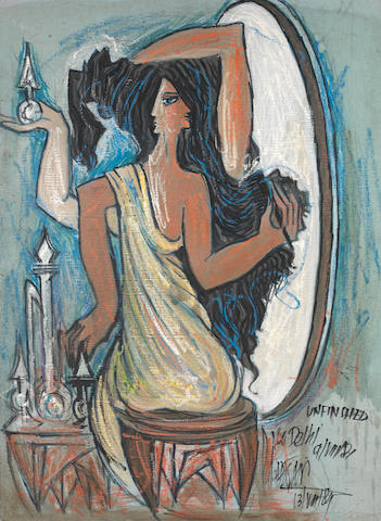 Sadequain (Pakistan, 1937-1987) Untitled (Girl with Mirror),