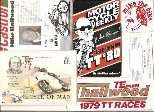 A Mike Hailwood signature, related photographs and ephemera,