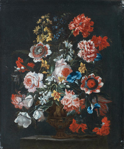 Bartolomeo Ligozzi (Florence 1620-1695) Roses, carnations, convolvulus and other flowers