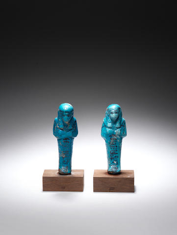 Two Egyptian bright blue glazed composition shabtis 2