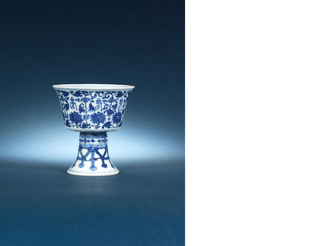 A Chinese stem cup Qianlong mark and period small chip to rim
