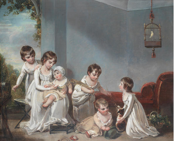 Attributed to Henry Singleton (London 1766-1839) Children playing with a cat in an interior,