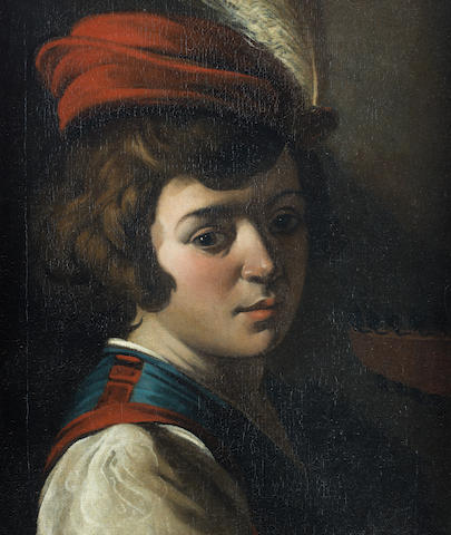 Studio of Lionello Spada (Bologna 1576-1622 Parma) A young boy in a red feathered hat