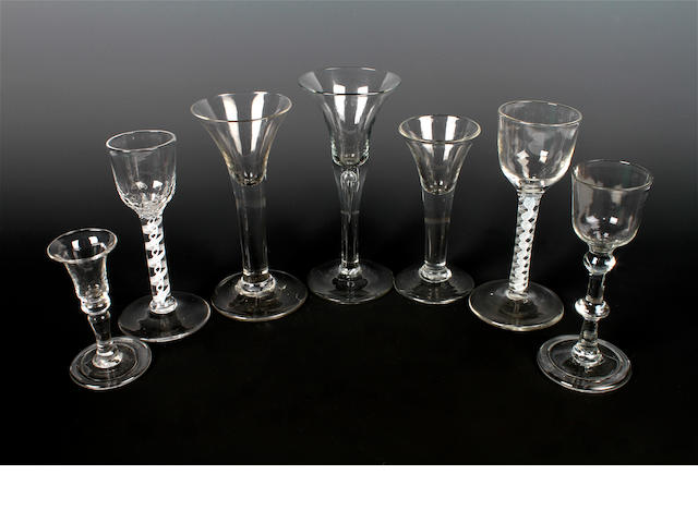 Five plain stem glasses and two opaque-twist wine glasses, 18th century