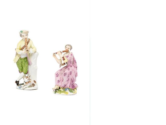 Two Meissen figures of musicians, circa 1750-60